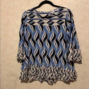 NWT crown & ivy geometrical blue print blouse